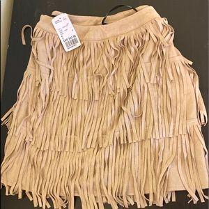 Suede Fringe Mini Skirt Taupe